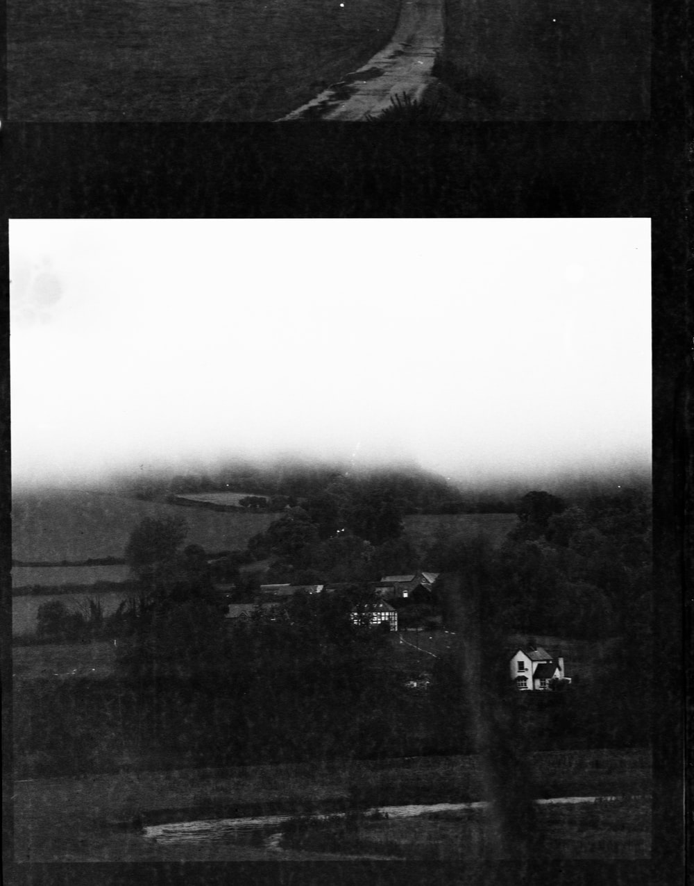 grayscale photo of houses and trees