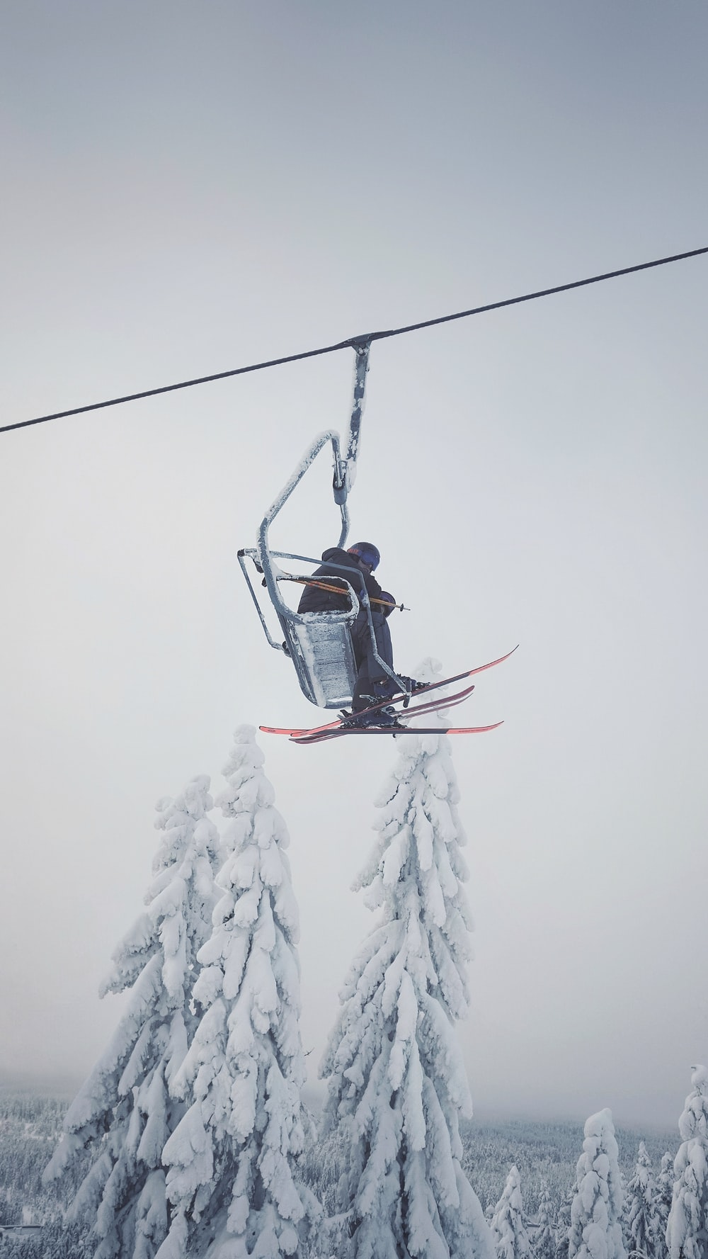 person in black jacket riding on cable car during daytime