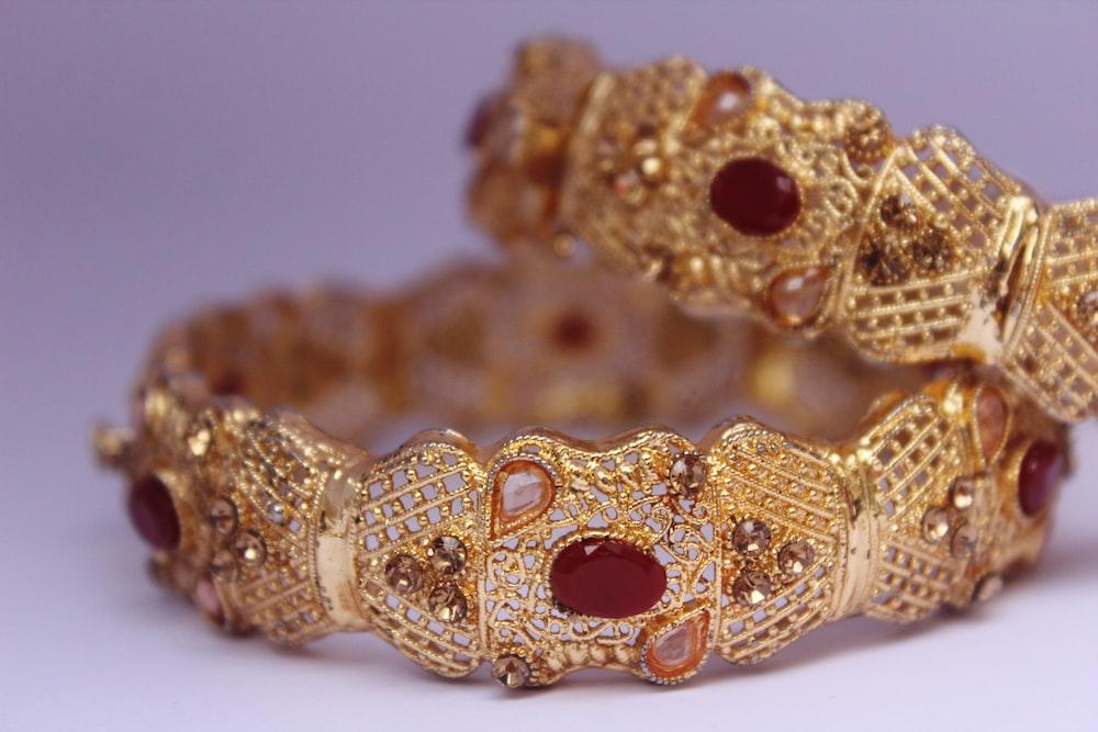 gold and diamond studded bracelet