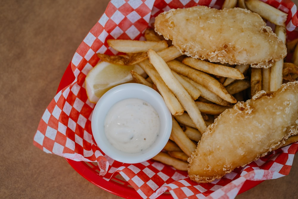 fried food on red and white checkered plate