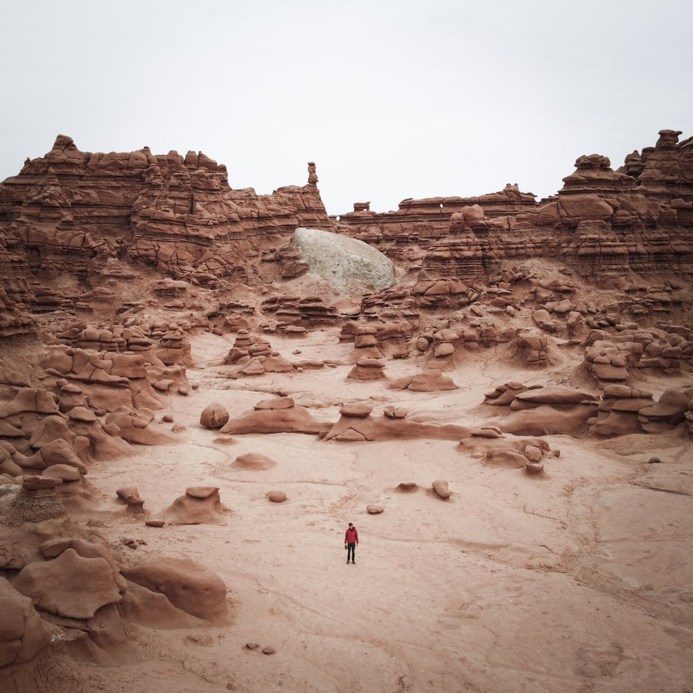 person in red jacket walking on brown sand during daytime