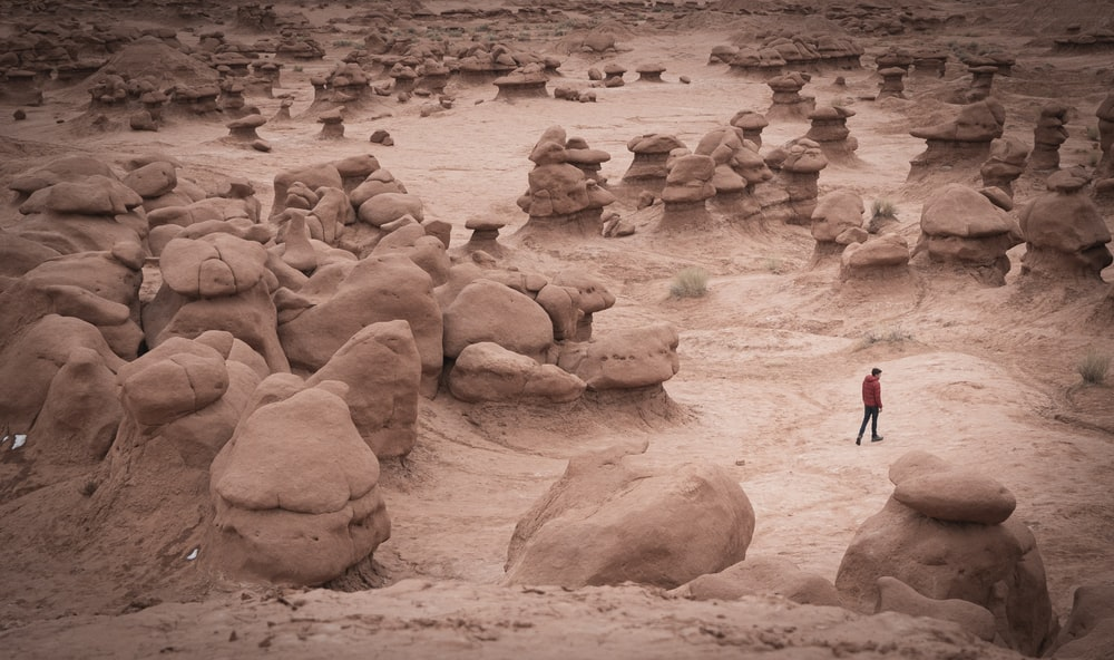 woman in black jacket walking on brown sand during daytime