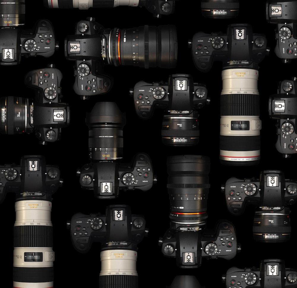 black and gold dslr camera lens