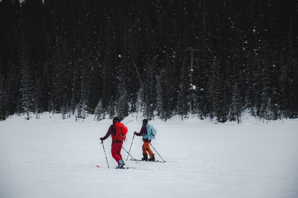 person in red jacket and black pants riding ski blades on snow covered ground during daytime