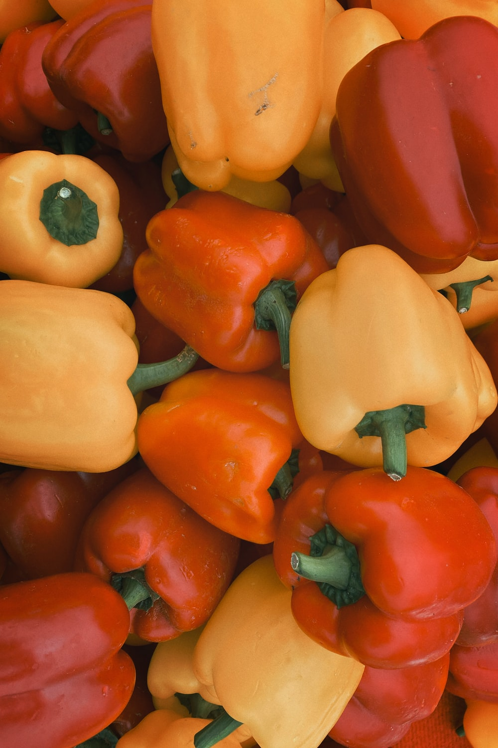 yellow red and orange bell peppers