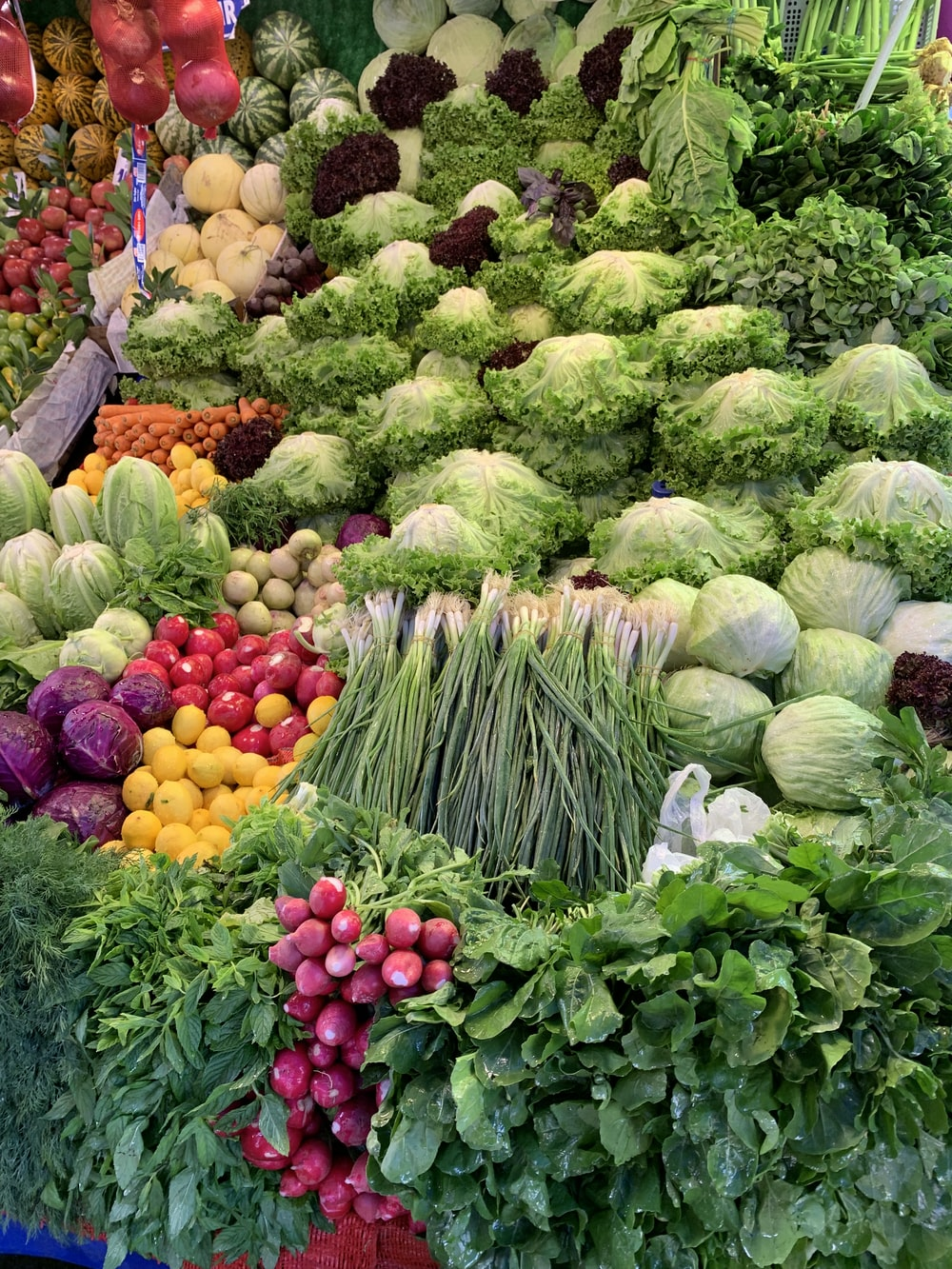 green and yellow vegetables and fruits