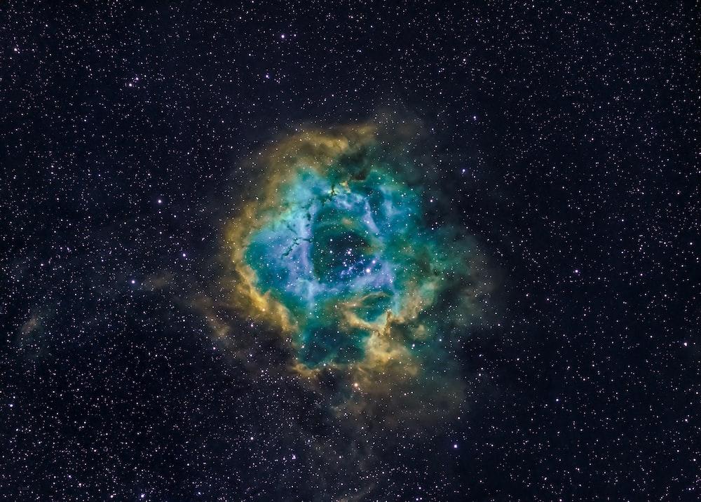 blue and black galaxy illustration