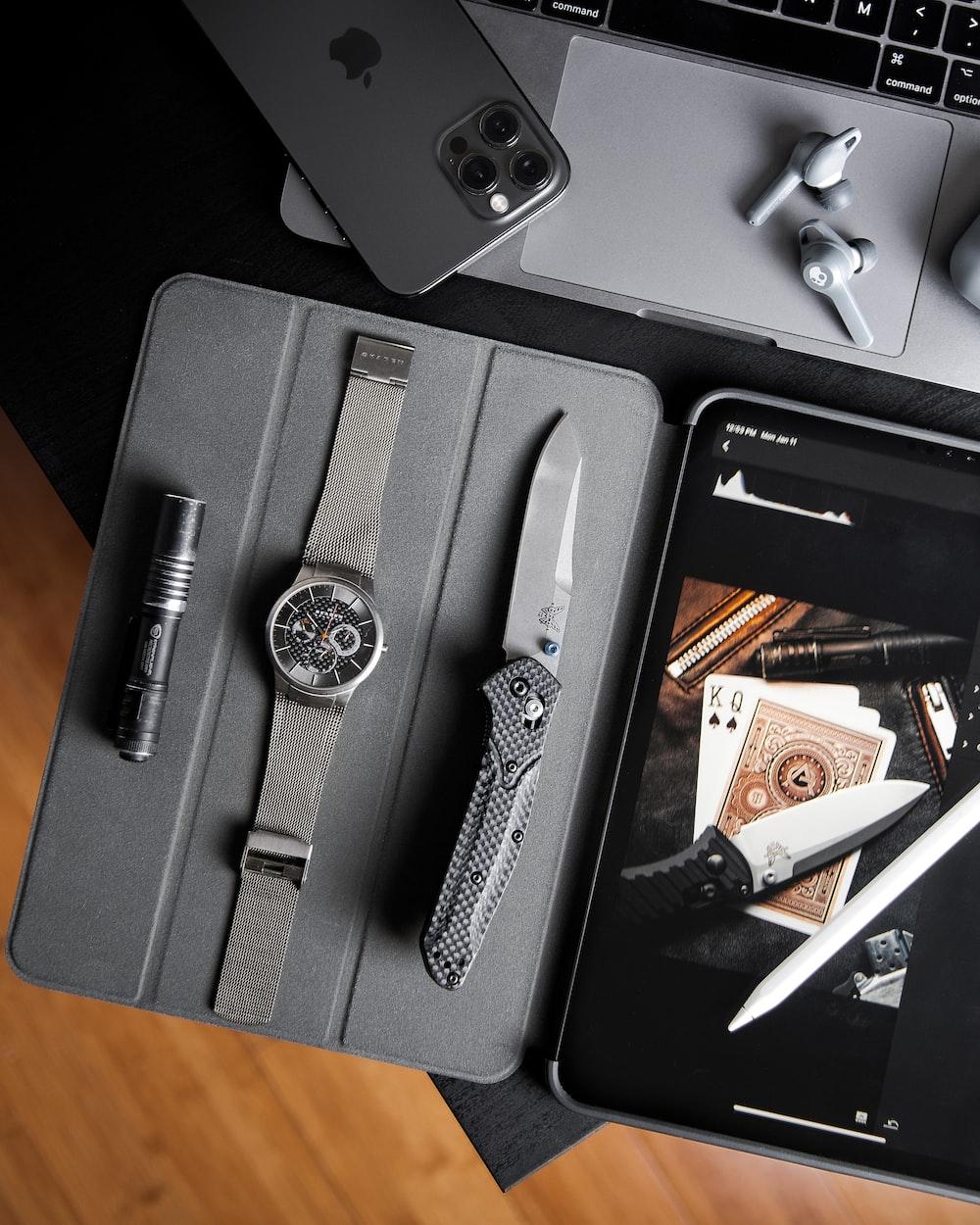black and silver scissors on black case