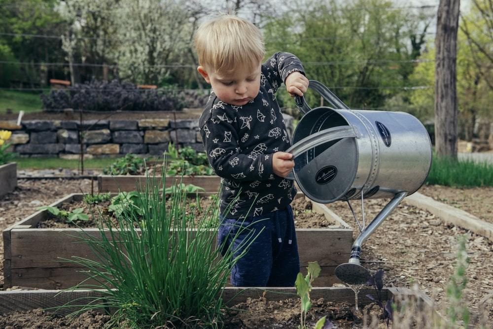 boy in black and white long sleeve shirt standing beside gray metal watering can during daytime