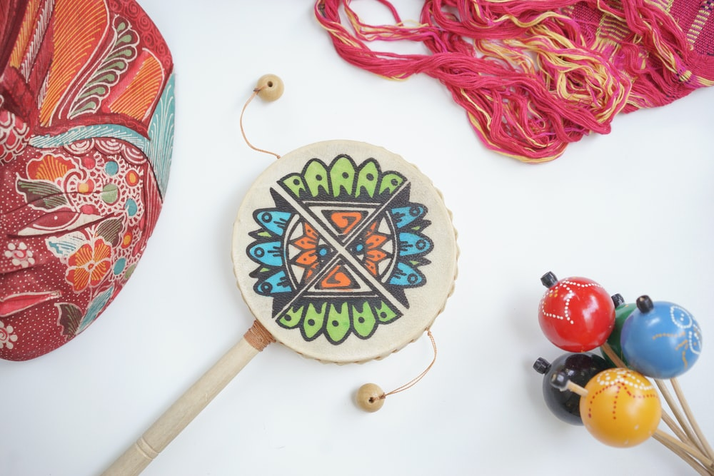 red and green floral lollipop
