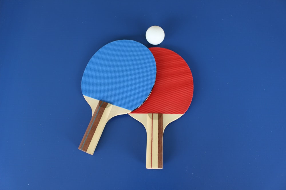 red and white wooden table tennis racket