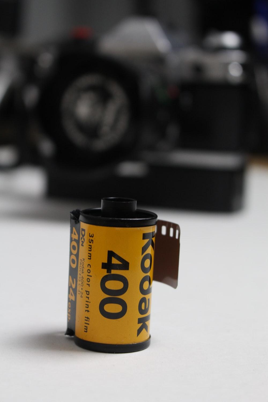 black and yellow camera lens
