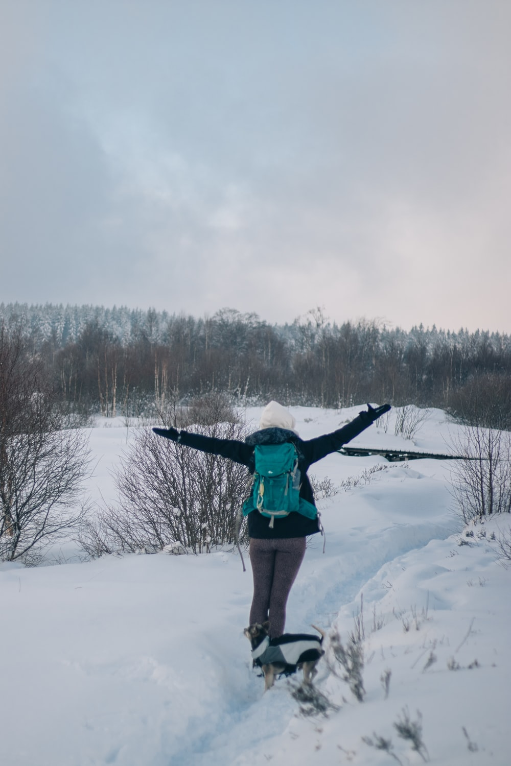 person in blue jacket and green pants standing on snow covered ground during daytime