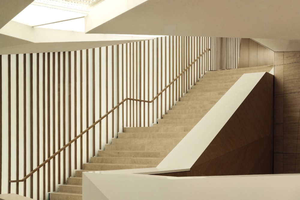 white and brown concrete staircase