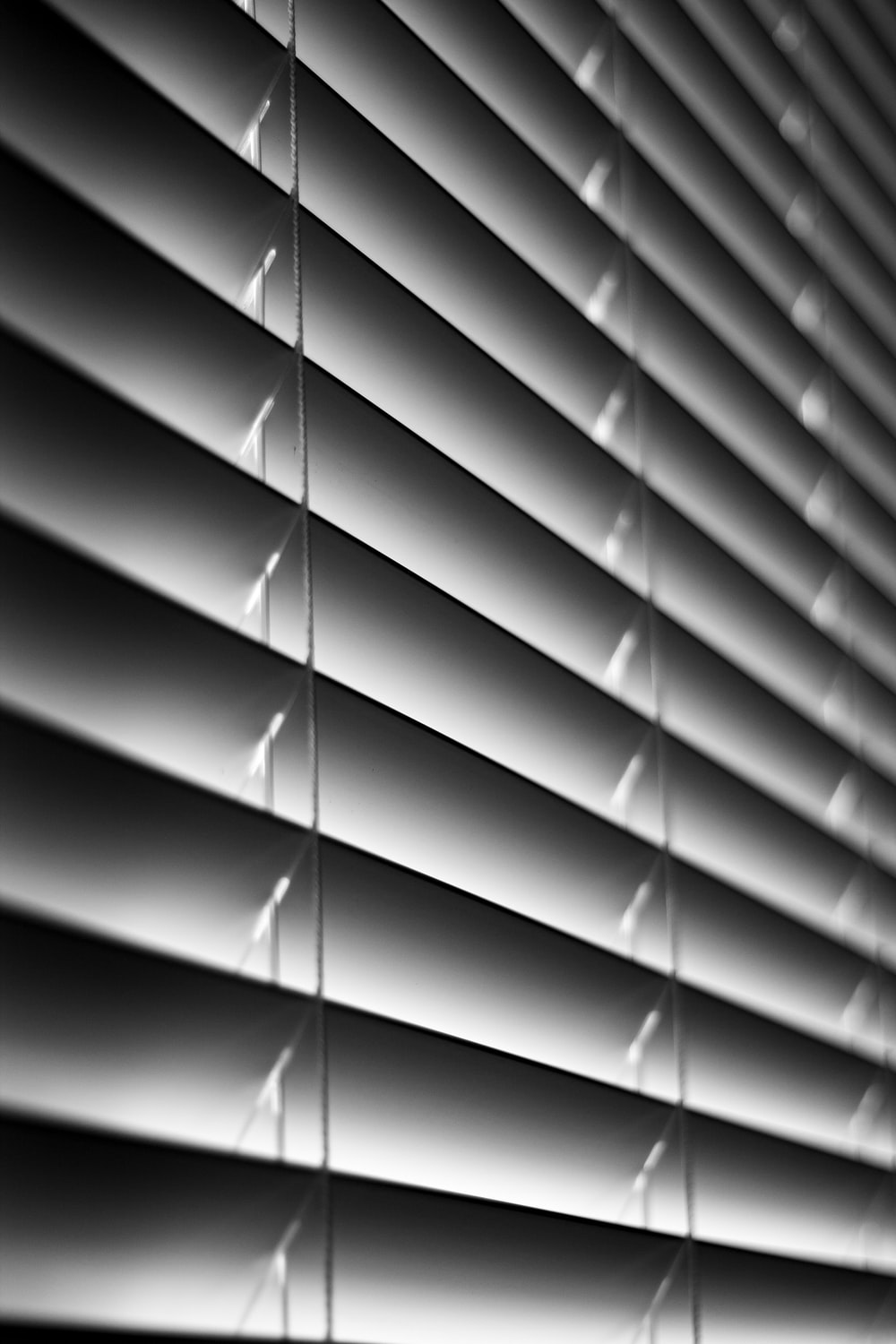 grayscale photo of window blinds