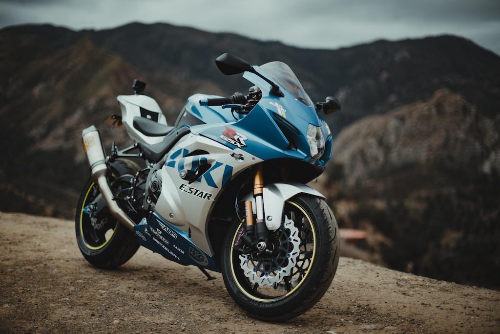 blue and white sports bike
