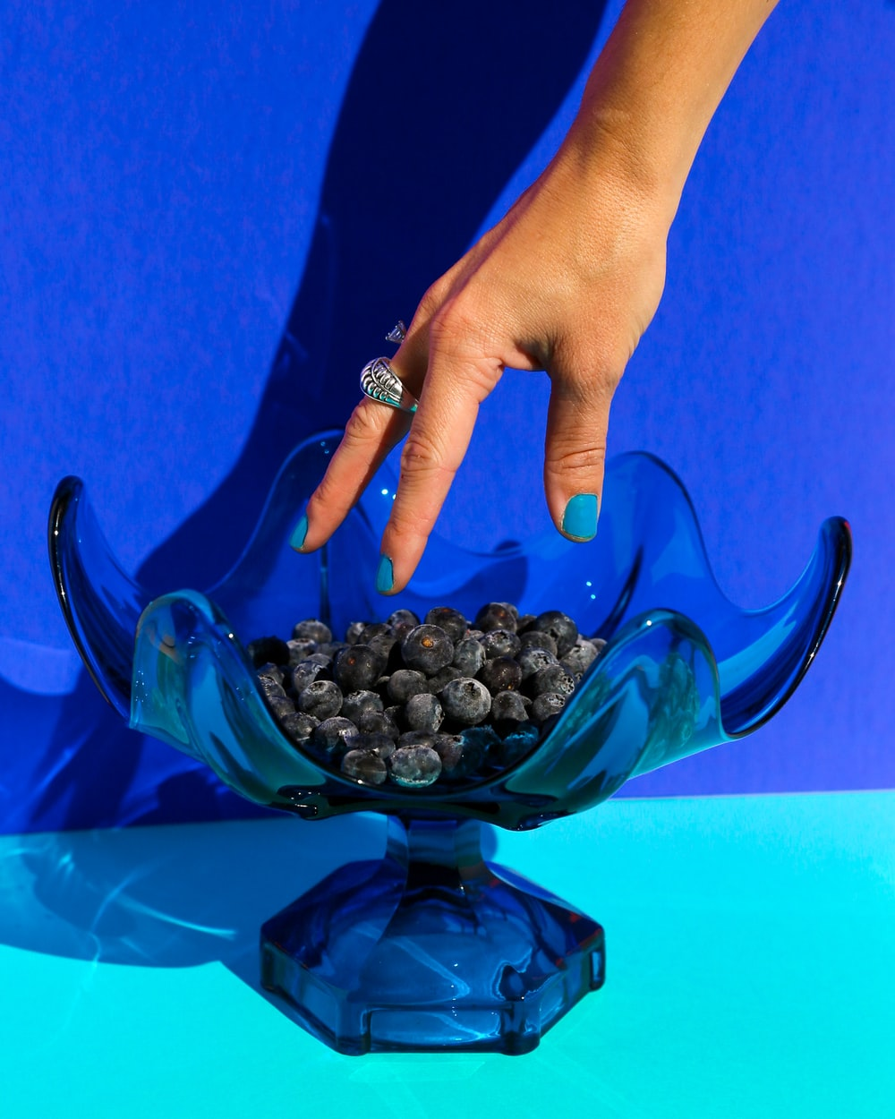 person holding black round fruit