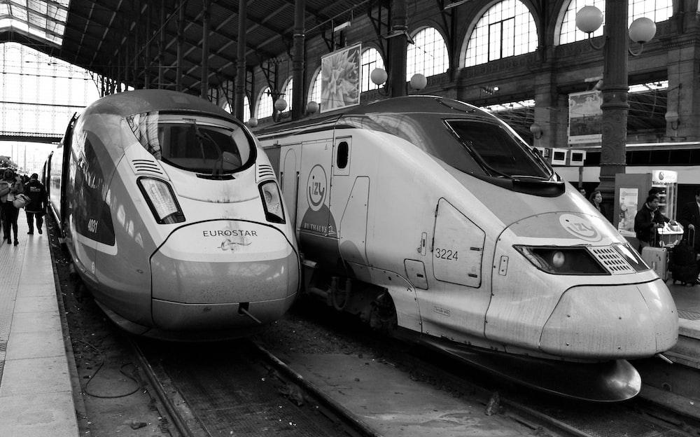 grayscale photo of white train