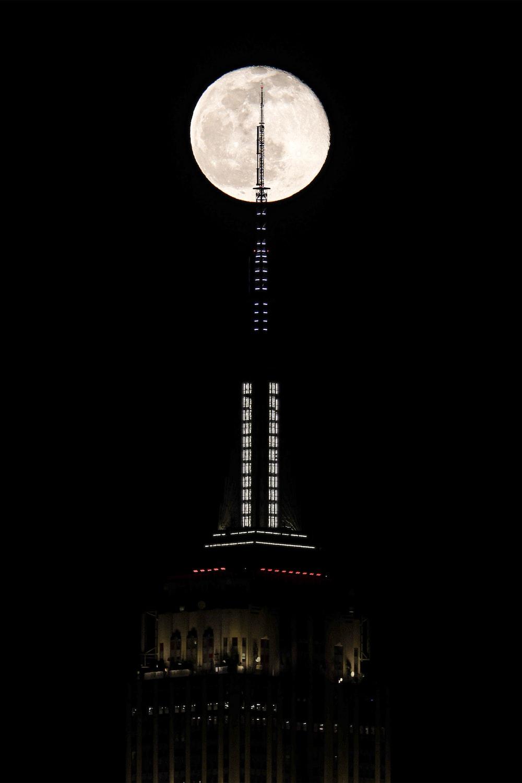 full moon over eiffel tower