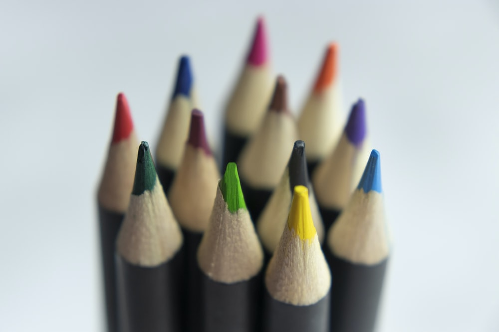close up photo of coloring pencils