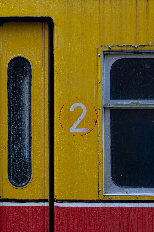 yellow and black train door