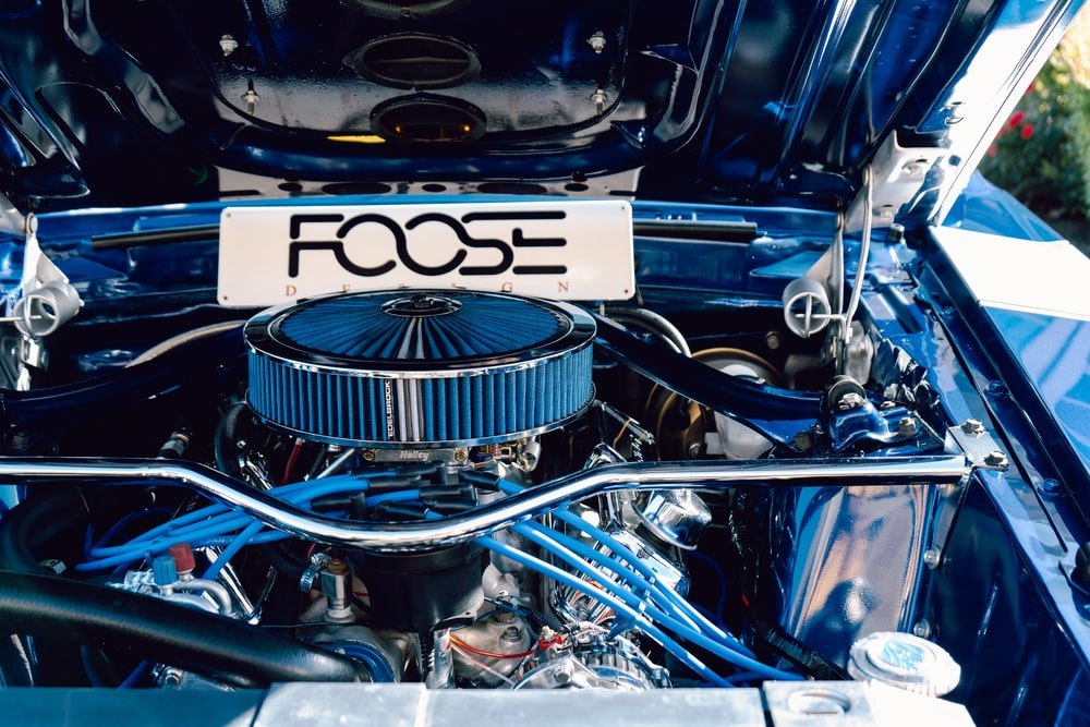 blue and silver car engine