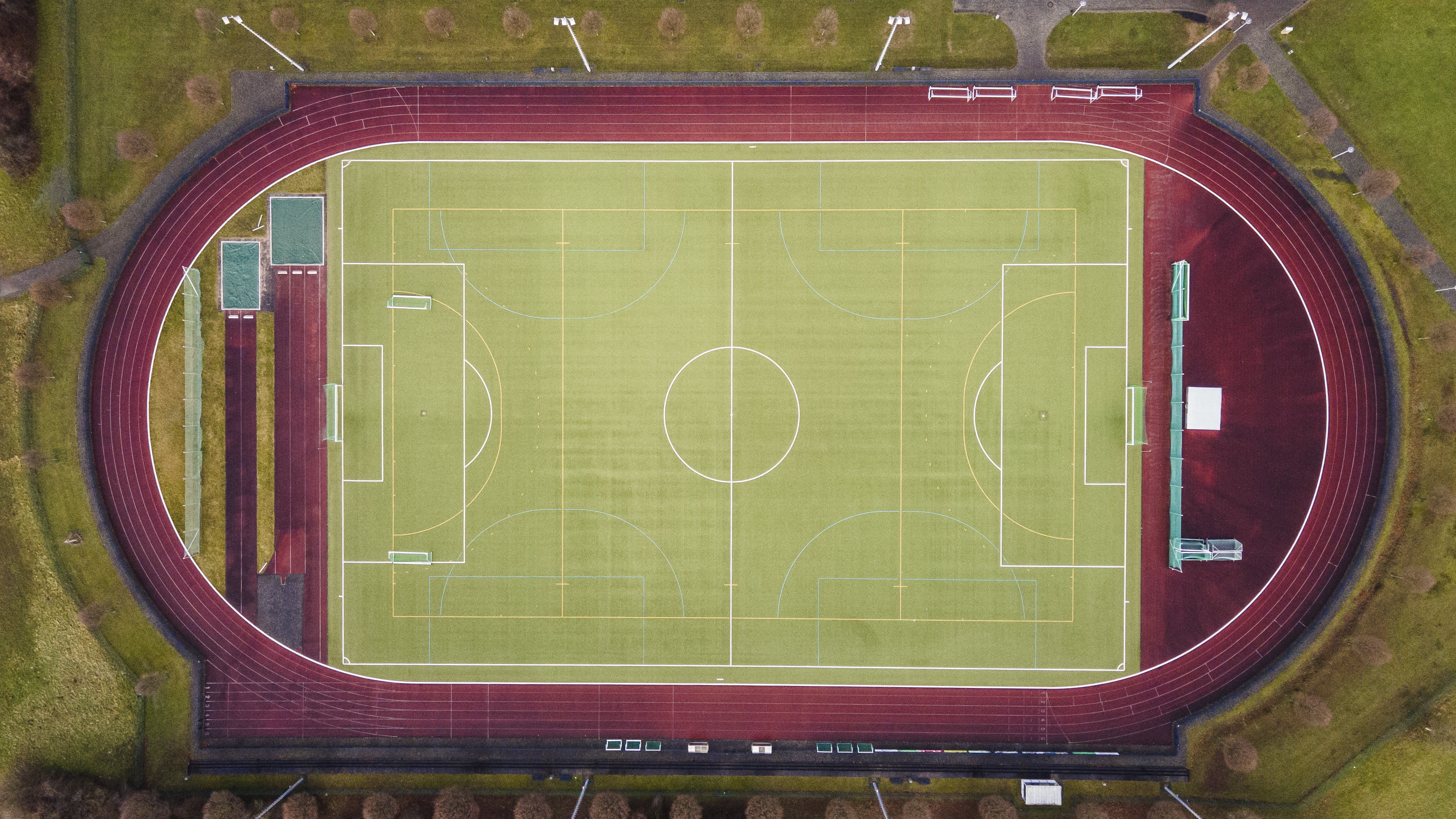 green and red football field