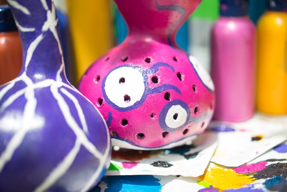 pink and white polka dot egg ornament