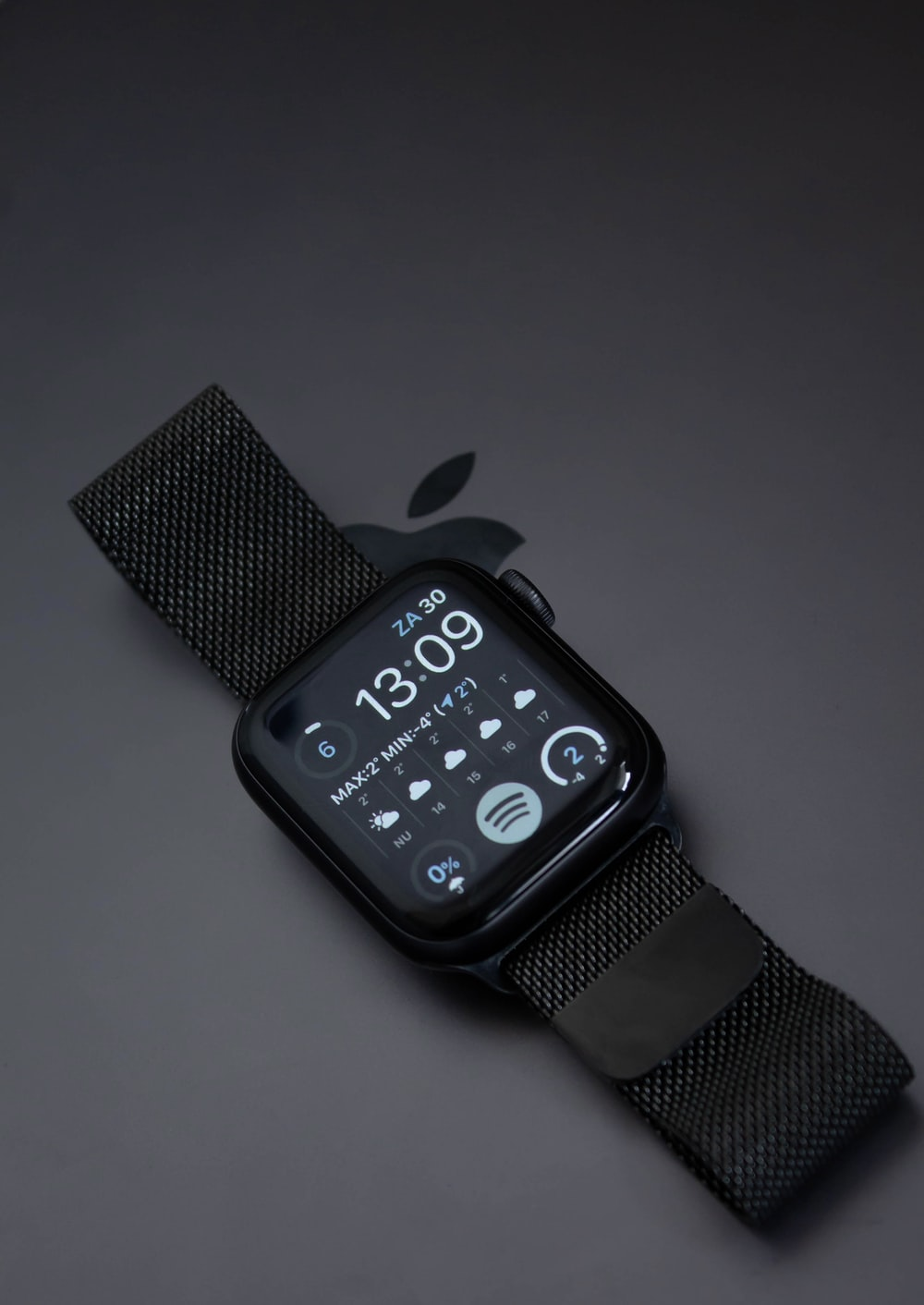 black apple watch with black sport band