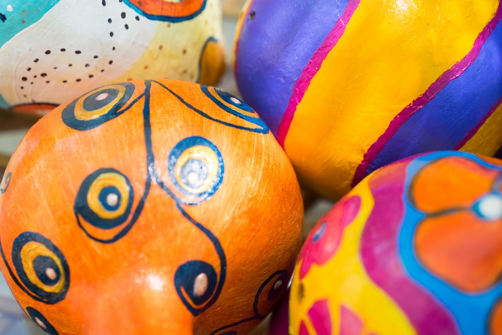 yellow red and purple egg decors