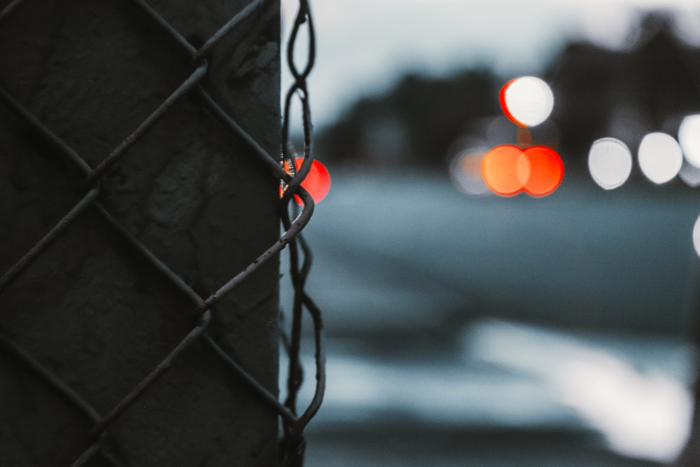 black metal fence with red round ornament
