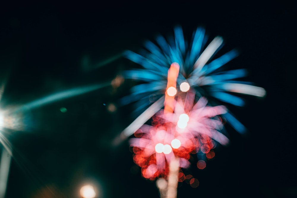 red and green fireworks display