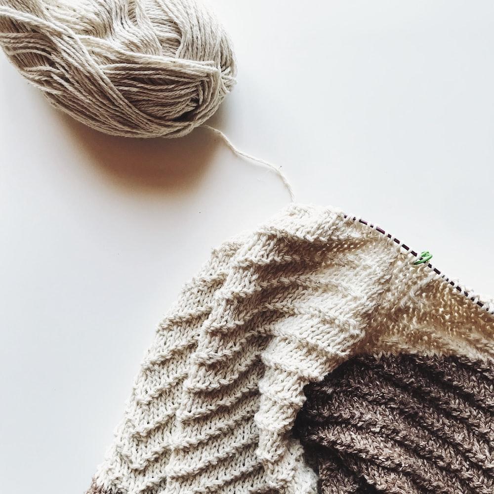 white yarn on white table