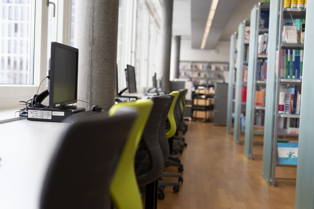 black and yellow office rolling chairs