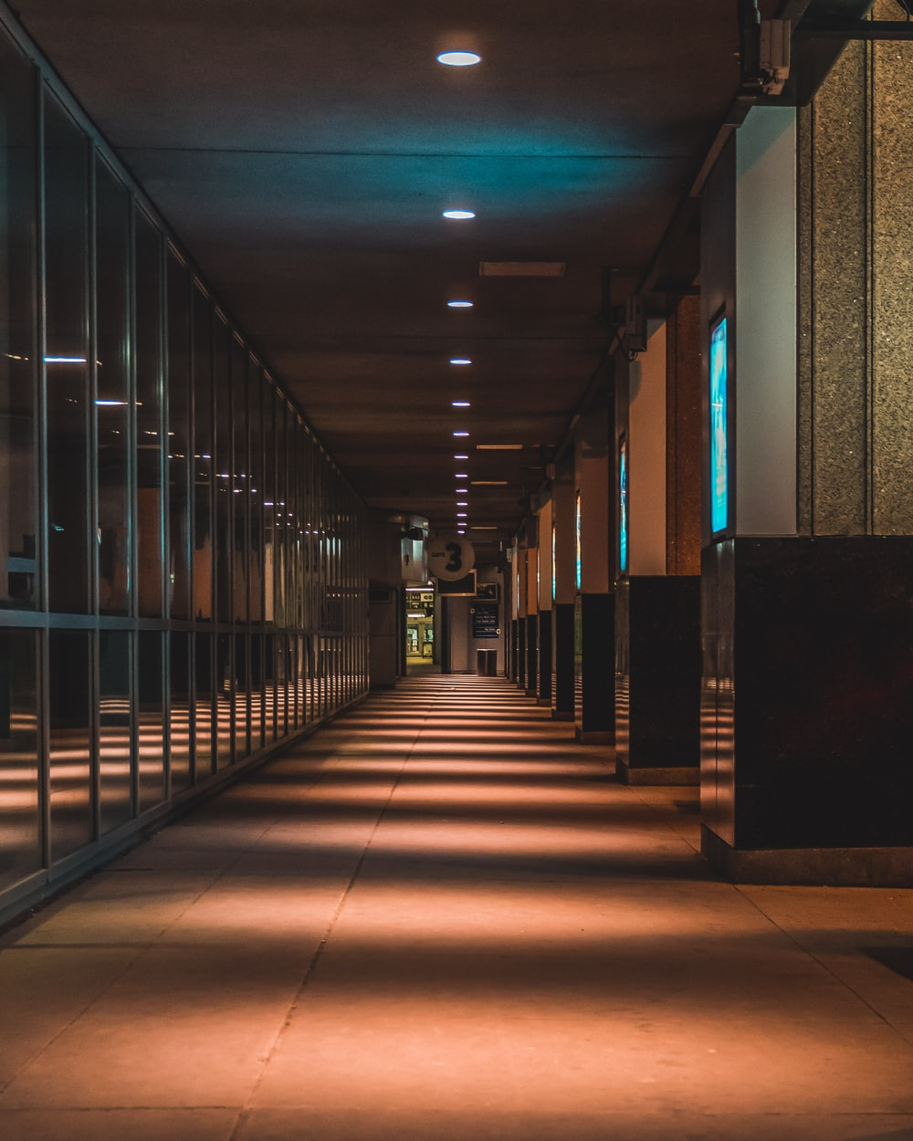 hallway with blue walls and glass windows