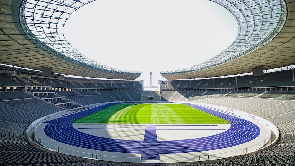 white and green stadium interior