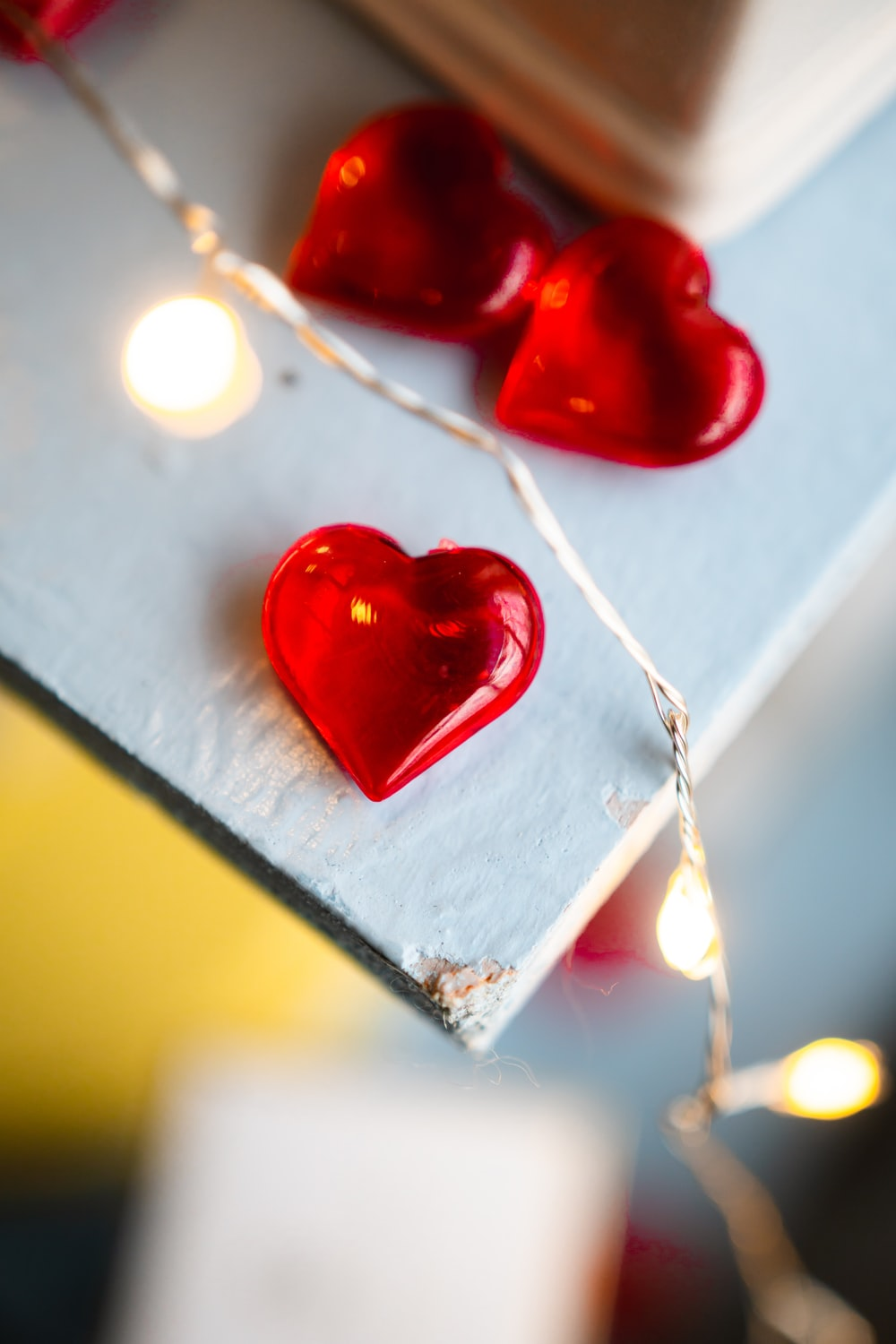 red heart shape candle holder