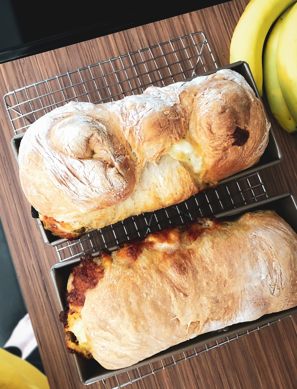 bread on black metal tray