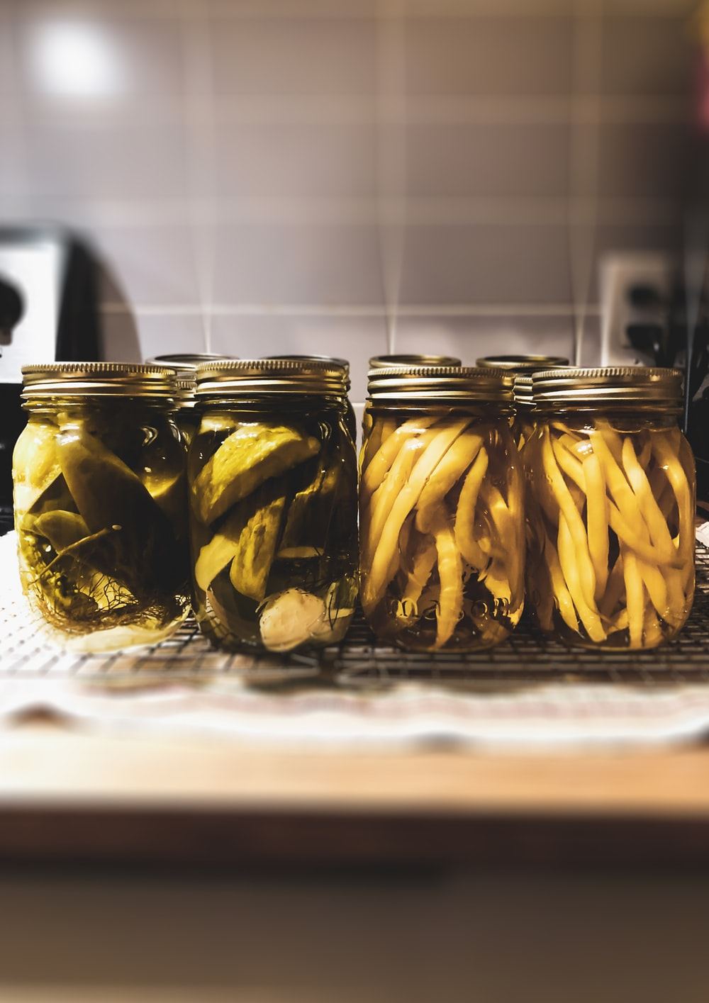 clear glass jar with yellow banana fruits