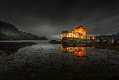 brown concrete castle on body of water celtic zoom background