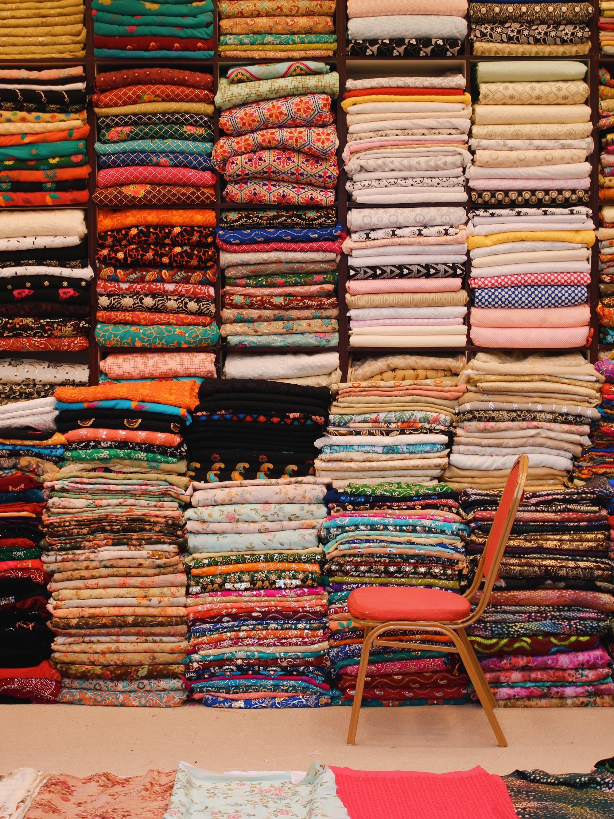 Folded fabric in an open market of Dubai, UAE