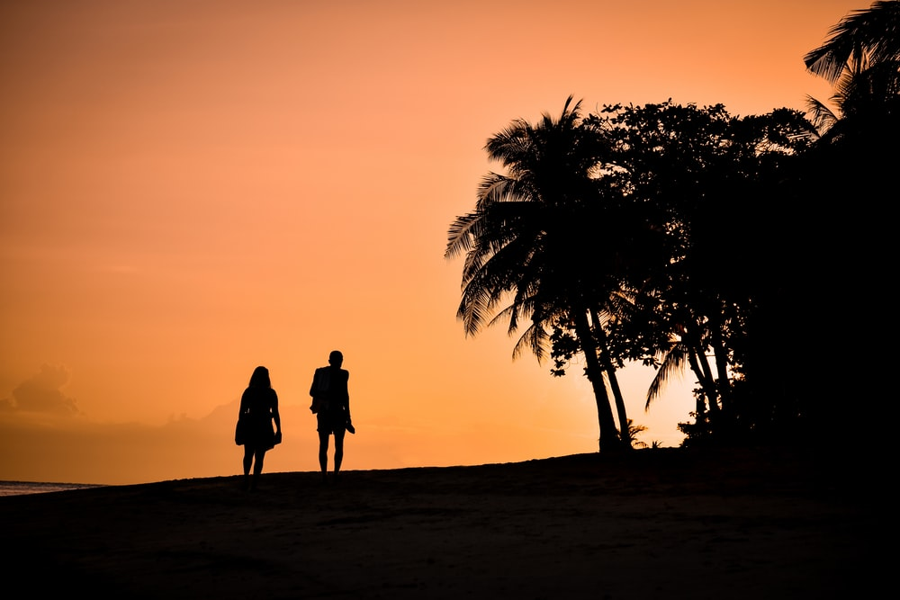 silhouette of man and woman standing on sand during sunset