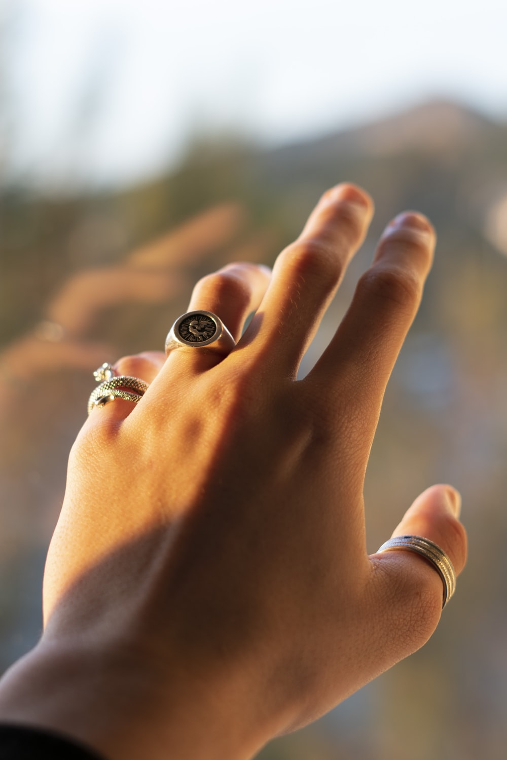 person wearing silver and black ring