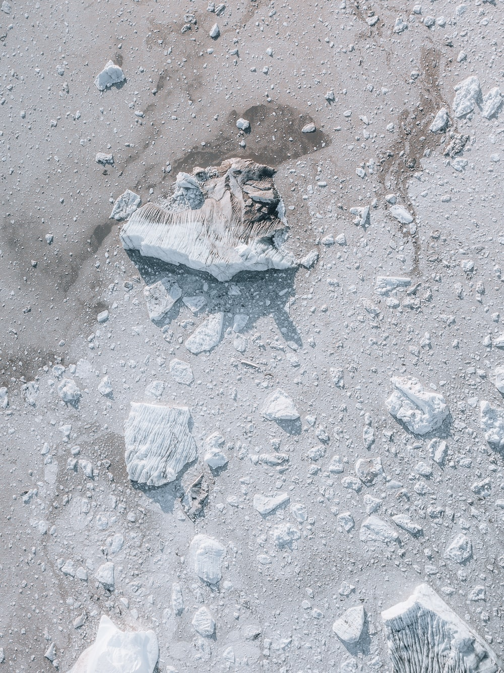 brown and gray stone on gray sand