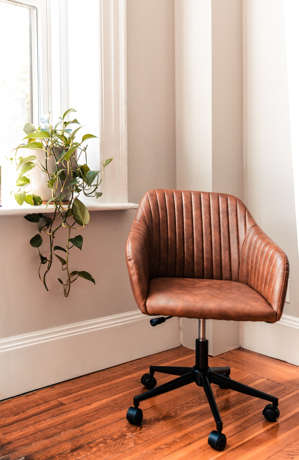 brown and black rolling chair beside green plant