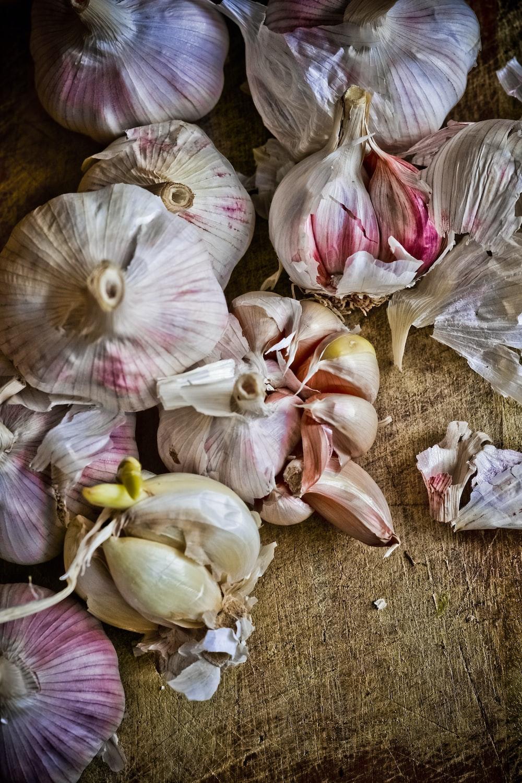 white garlic on brown soil