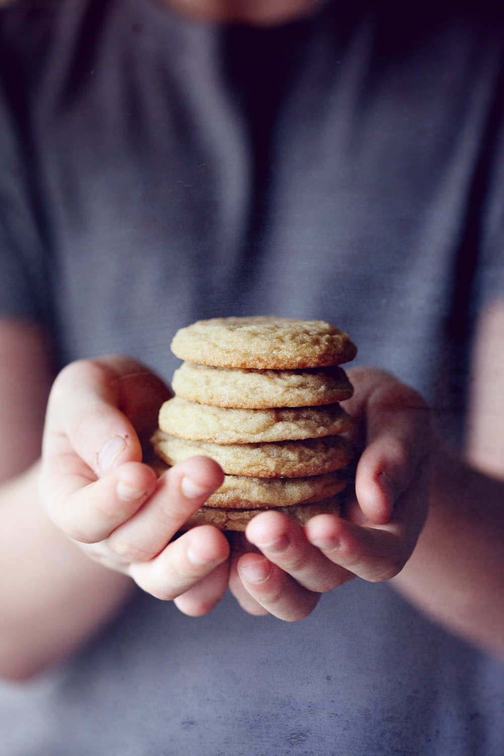 person holding brown cookies in close up photography
