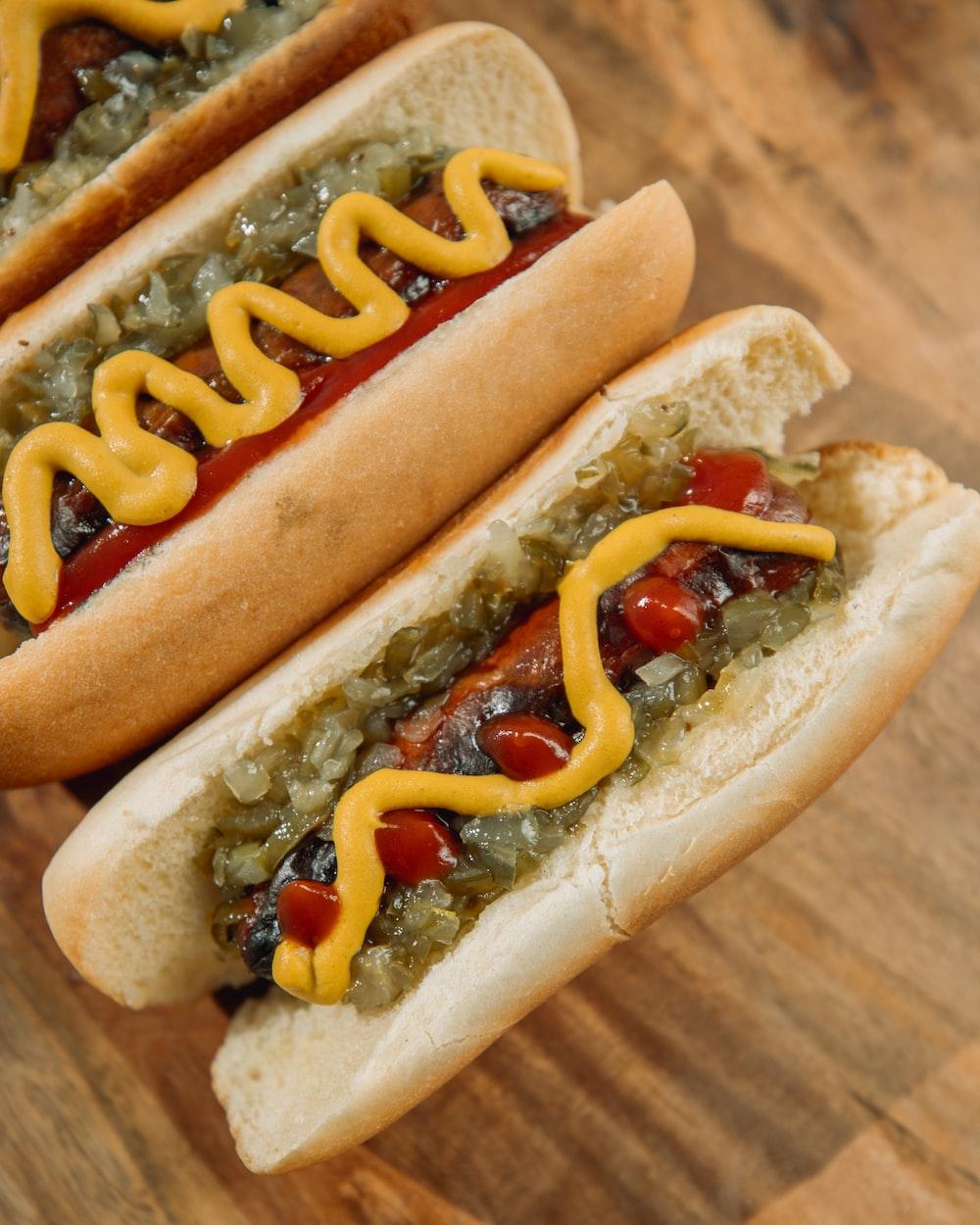 hotdog sandwich with mustard and ketchup