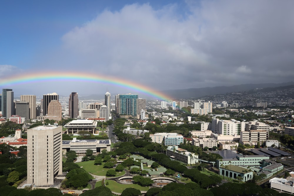 rainbow over city buildings during daytime