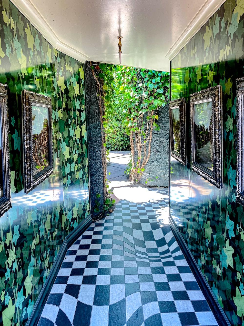 green and white tiled floor